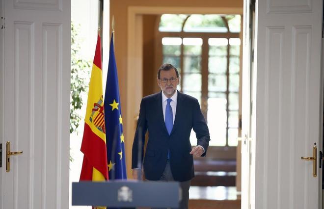 Mariano Rajoy, durante su comparecencia en Moncloa para hacer balance...