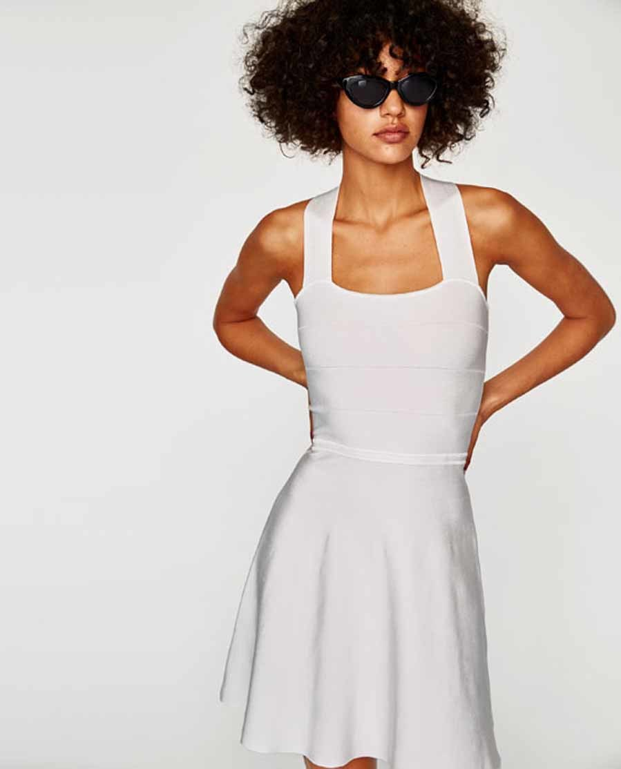 Vestido punto zara blanco