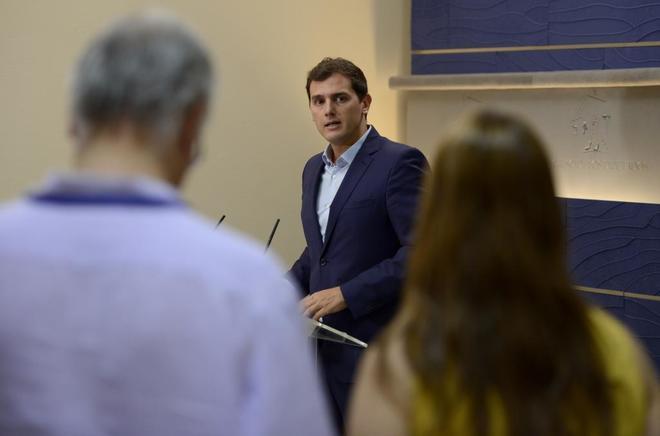 Albert Rivera, en rueda de prensa en el Congreso de los Diputados a...
