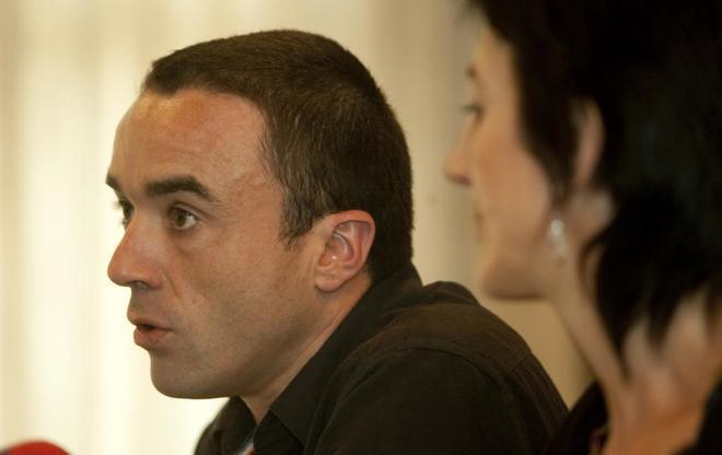 Mikel Irastorza, durante una rueda de prensa en San Sebastián en...