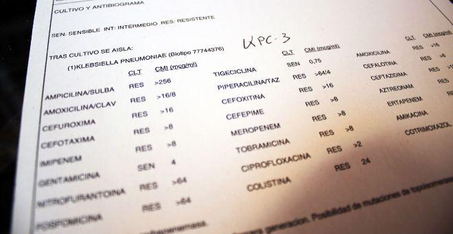 Resultado del cultivo y antibiograma de la paciente Eloína Combarros:...