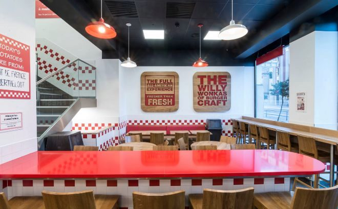 Estética 'made in USA'. La enseña 'Five Guys' inauguró su primer...