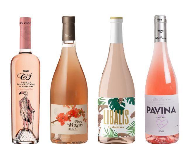Selección de vinos rosados.