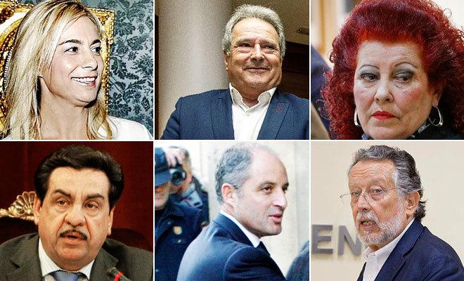Sonia Castedo, Alfonso Rus, Consuelo Císcar, Francisco Martínez, Francisco Camps y Alfonso Grau.