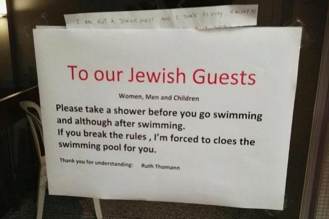 """""""A nuestros huéspedes judíos mujeres, hombres y niños. Por..."""