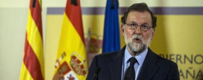 El presidente del Gobierno, Mariano Rajoy, durante la declaración...