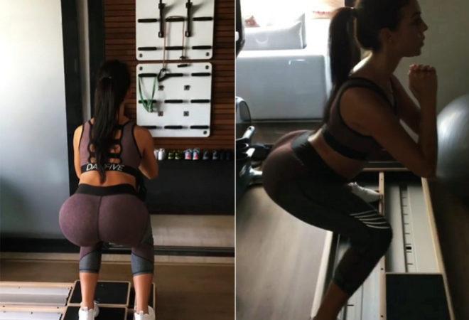 Georgina Rodriguez durante su entrenamiento con ropa de la marca de Daniela Ospina.