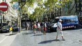 Vista de La Rambla de Barcelona, donde todavía no hay instalados...