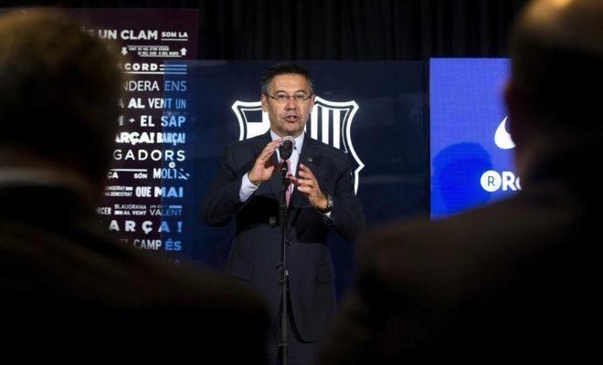 Josep Maria Bartomeu, durante la presentación de Paulinho.