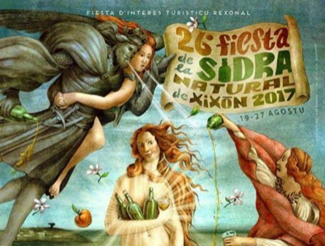 Cartel de la 26 edición de la Fiesta de la Sidra Natural de Gijón...
