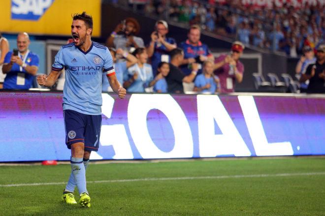 David Villa celebra un gol con el New York City en el Yankee Stadium, el pasado 20 de agosto.