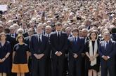 Felipe VI, en el minuto de silencio de la semana pasada en Barcelona.