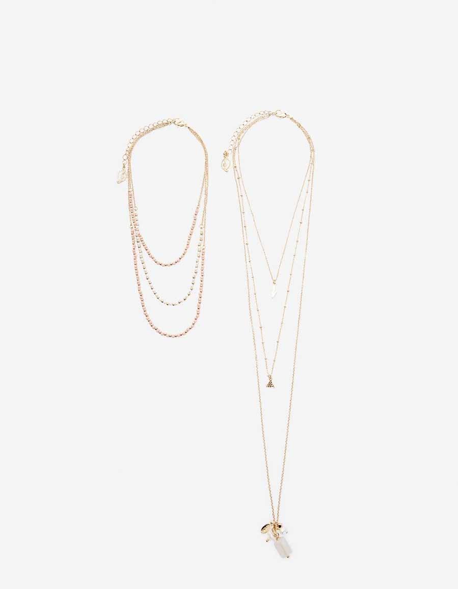 1b9742d04779 Set de 2 collares dorados con  charms  (7