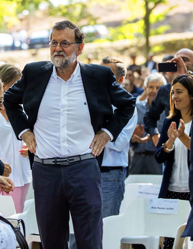 Mariano Rajoy, ayer, en Cerdedo-Cotobade, Pontevedra.