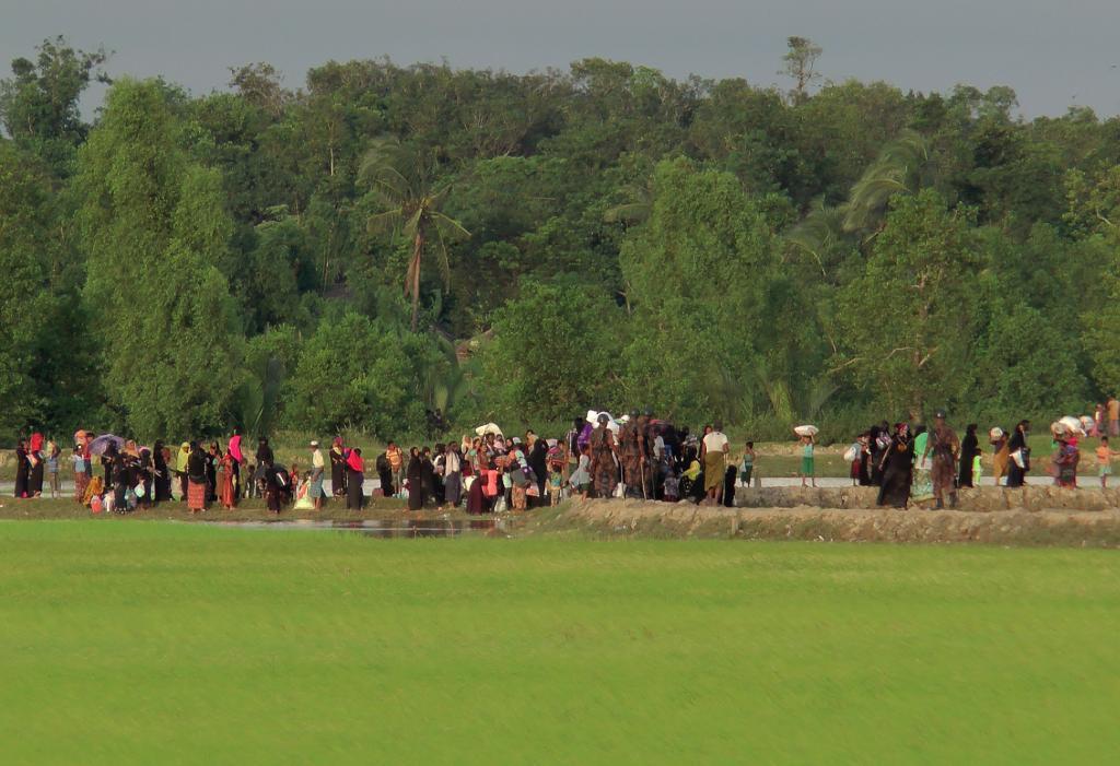 Los rohingya del estado de Rakhine en Birmania intentan cruzar la frontera con Bangladesh.