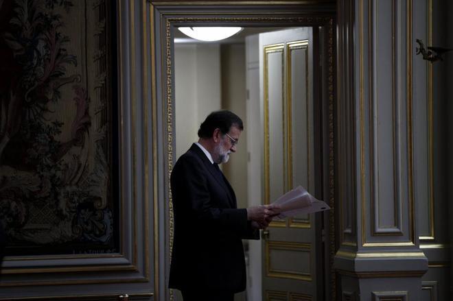 Mariano Rajoy, el lunes en el Palacio del Elíseo, tras la cumbre con...