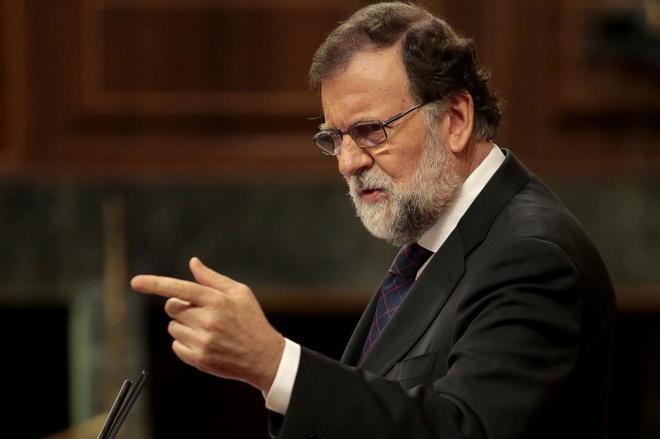 El presidente del Gobierno, Mariano Rajoy, en un momento del pleno...