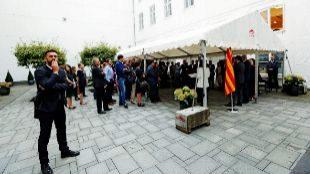Carles Puigdemont pronunció un discurso ante los asistentes a la...