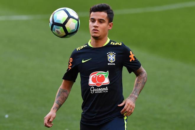 Philippe Coutinho, durante un entrenamiento con Brasil en Porto Alegre.