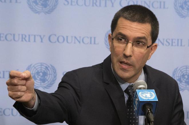 El canciller venezolano, Jorge Arreaza, ofrece declaraciones a los...