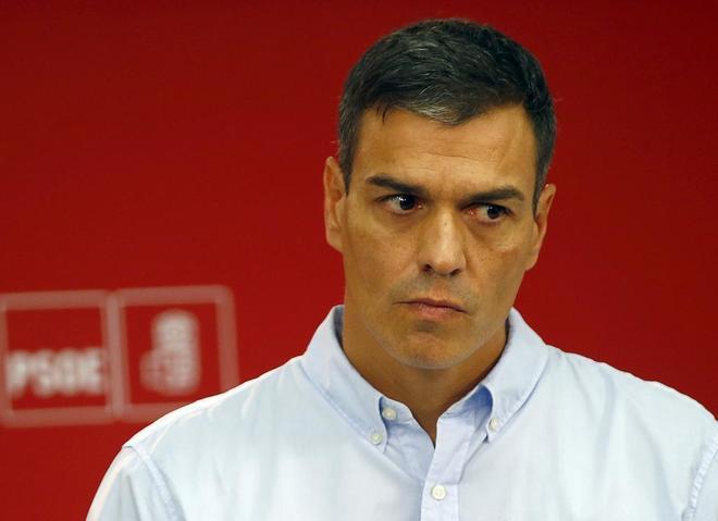 Pedro Sánchez, esta mañana, durante la rueda de prensa en la sede...