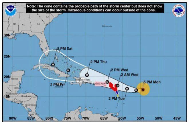 Pronóstico a 5 días sobre el posible desarrollo y trayectoria del huracán Irma