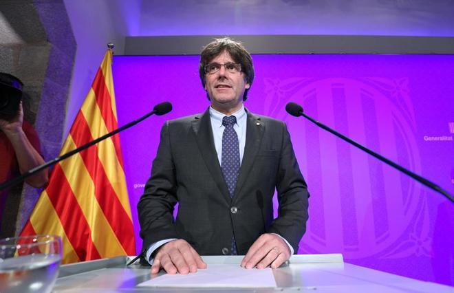 El presidente catalán, Carles Puigdemont, ayer en el Palacio de la...