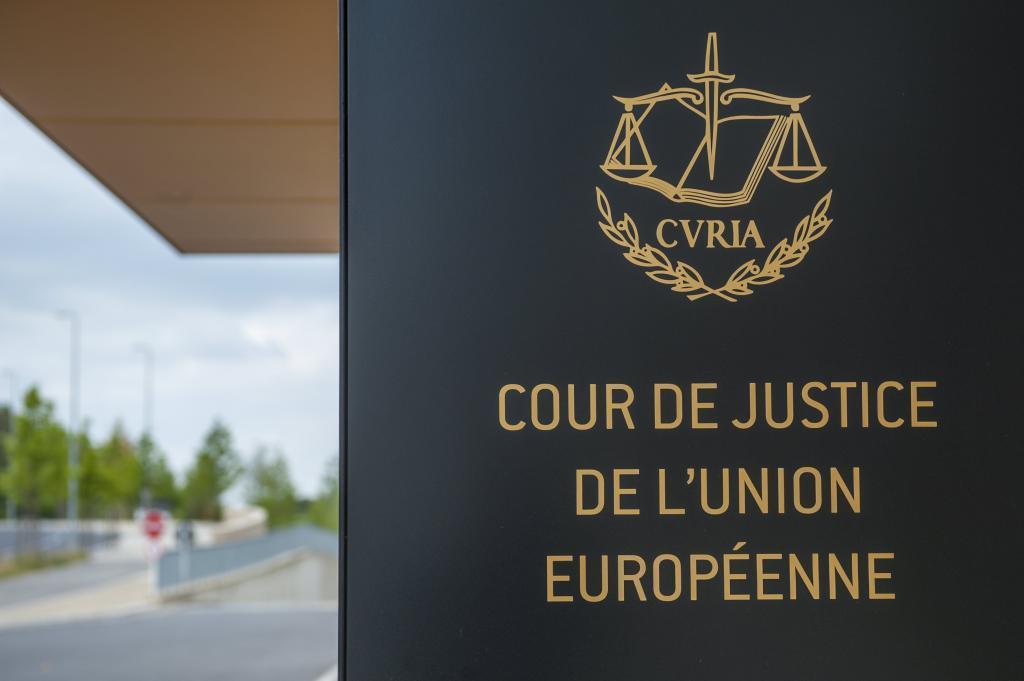 Detalle de la entrada al Tribunal de Justicia de la Unión Europea en Luxemburgo.