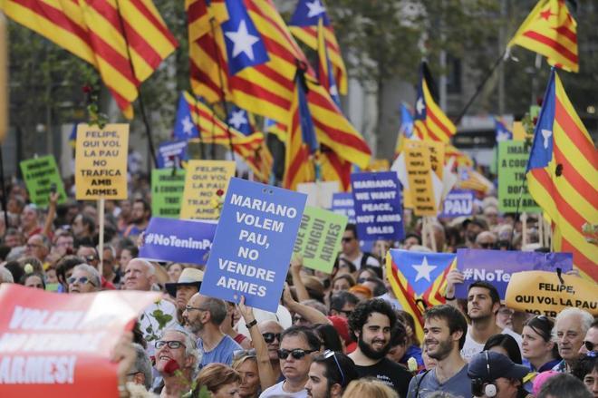 Manifestacion ciudadana con el lema No tinc por (No tengo miedo) en Barcelona para condenar los atentados Yihadistas del 17-A