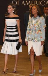 La reina asistió al congreso contra el cáncer con un vestido de (una...