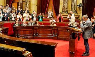 Joan Coscubiela, el pasado jueves en el Pleno del Parlament, en el que...