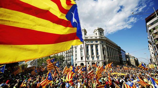 Aspecto de la manifestación independentista celebrada ayer por la...