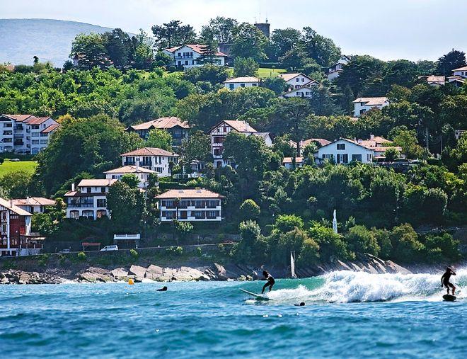 Zona para practicar surf en la bahía de San Juan de Luz.