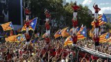 'Castellers' en la manifestación de la Diada.