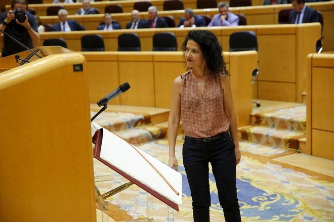 Maribel Mora, portavoz adjunta de Unidos Podemos, tras jurar su cargo...