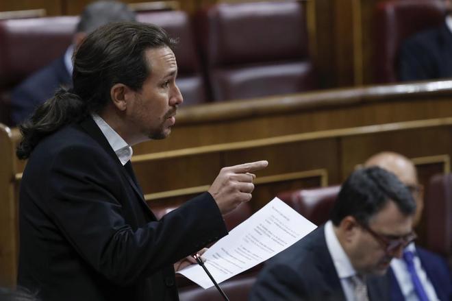 Pablo Iglesias, durante la sesión de control al Gobierno.