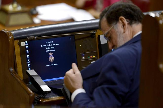 El presidente del Gobierno, Mariano Rajoy, en el Pleno de este...