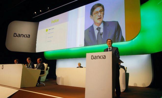 El presidente de Bankia, José Ignacio Goirigolzarri, en la junta de hoy en Valencia.