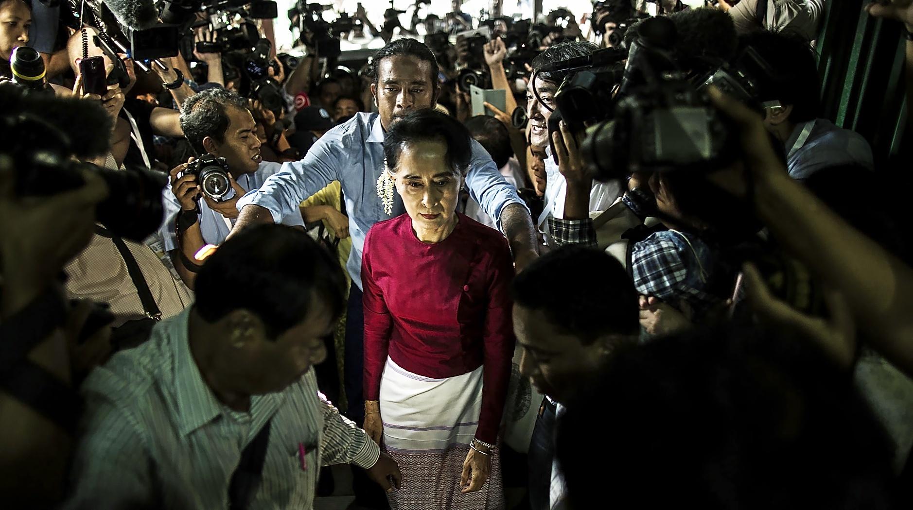 La Consejera de Estado birmana, dirigente de facto del país y premio Nobel de la paz, Aung San Suu Kyi.
