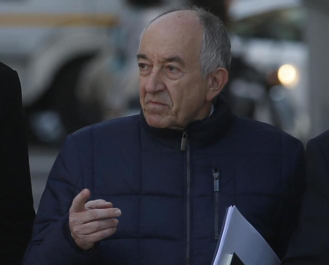 Miguel Ángel Fernández Ordoñez, ex gobernador del Banco de España, a su entrada de la Audiencia Nacional para declarar sobre Bankia.