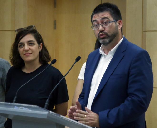 Carlos Sánchez Mato y Celia Mayer, en la rueda de prensa en torno a sus imputaciones.