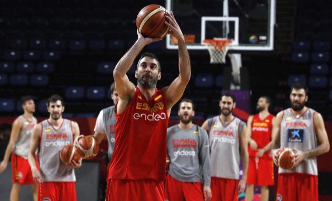 Juan Carlos Navarro, durante el entrenamiento del combinado nacional en Estambul.