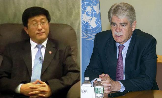 El embajador de Corea del Norte en España, Kim Hyok Chol y el...
