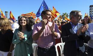 Inés Arrimadas, Albert Rivera y José Manuel Villegas, en el acto de...