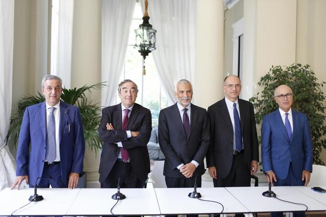 Marco Pizzi, Juan Rosell, Stefano Sannino, Enrico Letta y Josep Antoni Duran Lleida.