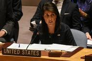 La embajadora de EEUU en la ONU, Nikki Haley, interviene en el Consejo de Seguridad de la organización.