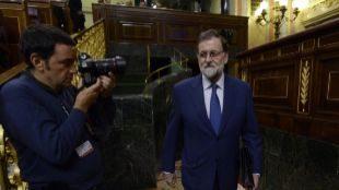 Mariano Rajoy, a su llegada esta mañana al Congreso de los Diputados.