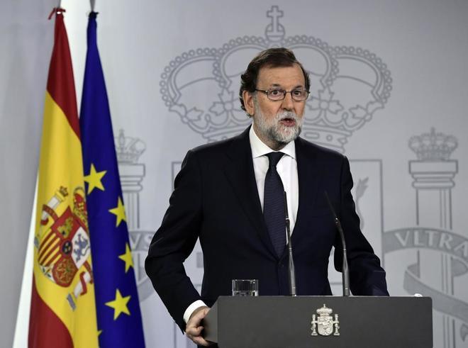 El presidente del Gobierno, Mariano Rajoy, durante la declaraci