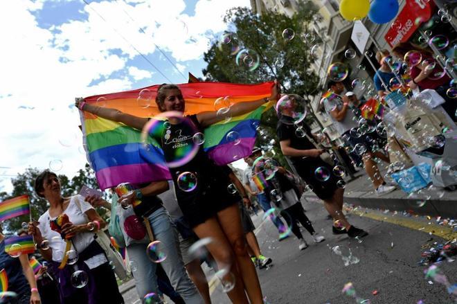 Manifestación a favor de los derechos de la comunidad LGTB.
