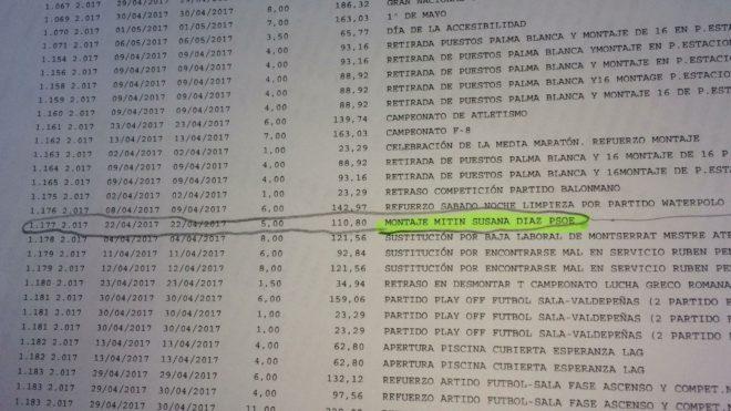 El documento en el que se detallan las horas extras de la funcionaria
